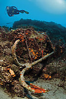 Asia; Turkey; Mediterranean Sea; diver above an old anchor with orange sponges