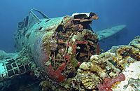Airplanewrack; Airplane; underwater; wrack; Jake Seaplane Divesite; japanese Worldwar II aircraft wrack