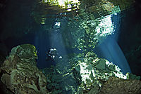 America, Mexico, Yukatan,  Playa del Carmen, Tajmahal, freshwater cavediving, cavediver, sunlight from the ceiling, cave, diver, tek diving, tec diving, technical dive, cave dive, cavern diving