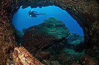 Asia, Turkey, Dalaman, Fethiye, diving, cavediving, cavediver, entrance of a cave, rocks