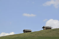 Europe, Italy, South Tyrol, Trentino-Alto Adige, Eisack Valley, Alp, chalet, alpine cabins at Seiser Alp