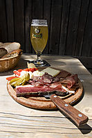 Europe, Italy, South Tyrol, Trentino-Alto Adige, Eisack Valley, brown-bag lunch, cold meat and cheese with beer