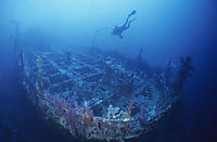 Africa, egypt, red sea, diver above the shipwreck of the Aida II, red sea, Brother Islands, north point Big Brother, Egypt, wreck, stern of the Aida II wreck
