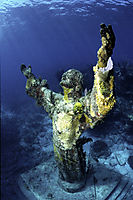 America, USA, Florida, Keys, Key Largo, diving, statue of Christ under water looking to the surface