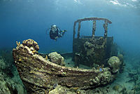 America, Curacao, Netherlands Antilles, All West Curacao, Tugboat, diver on a wreck, shipwreck in shallow water