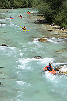 Europe, Slovenia, Alps, kayak, kayaking at the river Soca, mountain river, whitewater sports