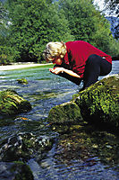 Europe, Slovenia, Alps, girl sips from a creek, river Soca