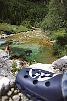 Europe, Slovenia, karst, julian alps, river, catwalk, gangplank, stop at the bridge over a creek, mountains, mountain panorama