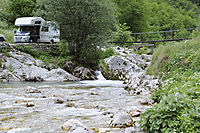 Europe, Slovenia, karst, julian alps, river, catwalk, gangplank, camper at the bridge over a creek, mountains, mountain panorama