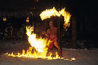 Oceania, French Polynesia, Society Islands, South Sea Islands, South Pacific, Bora Bora, dream of an island, fire dancer, firedancer, playing with fire, fire-eater
