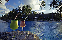 Oceania, French Polynesia, Tuamotus, South Sea Islands, South Pacific, Manihi, dream holiday, vacation, cocktail at the pool