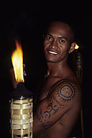 Oceania, French Polynesia, Society Islands, South Sea Islands, South Pacific, Bora Bora, dream of an island, fire dancer, firedancer, tattoo dancer, tattoo man, tattoo at the arm