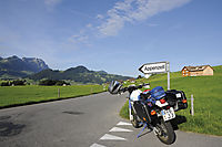 Europe, Switzerland, Appenzeller Land, Appenzell, Alps, agrarian, country, countryish, mountainous, farmstead, farm, agrotourism, farmhouse, holidays, field, mountain, motorbike at a crossroad
