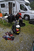 Europe, Austria, Tirol, motorvan divers holiday, lake Plansee, mountain lake diving, dive equipment, freshwater