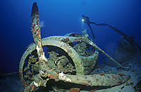 Asia, Turkey, Kas, Mediterranean Sea, diver with torch behind a airplane wreck of an italian Savoia Sparviero SM97, Worldwar II, wreck, wreckdiving, wreckdiver, airplanwreck