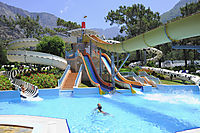 Asia, Turkey, Mediterranean Sea, Bubblemaker, kids playing at the slide paradise