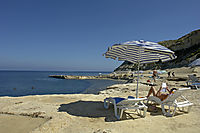 Europe, Malta, Gozo, Mediterranean Sea, ally commonwealth, umbrellas at the beach, parasol, sunshade