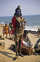 Asia, India, blue man as good lord shiva at Anjuna beach