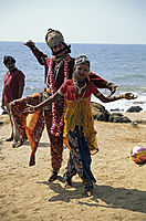 Asia, India, dancing goods at Anjuna beach, dance of the goods