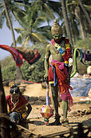Asia, India, green man as monkey good of the Hindu people at Anjuna beach