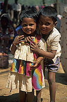 Asia, India, kids, children at the Market in Anjuna