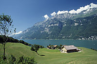 Europe; Switzerland; East Switzerland; Glarner Land; lake Walensee, view to the mountain wall of Churfistenwand, sunny day in the alps