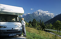 Europe, Slovenia, Alps, karst, julian alps, Camper, camping car, mountain view, massif ot the mountain Triglav