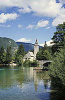 Europe, Slovenia, Alps, karst, julian alps, bridge and church at the lake Bohinj, panorama view