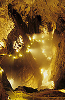 Europe, Slovenia, karst, julian alps, river, mountain cave, cave hiking, illuminated cave