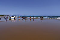 Africa; Mozambique; Tofo Beach, Inhanbane, indic ocean, diveboat at the beach