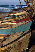 Africa; Mozambique; Tofo Beach, Inhanbane, indic ocean, fishing boats at the beach