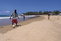Africa; Mozambique; Tofo Beach, Inhanbane, indic ocean, kids playing soccer at the beach