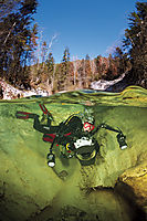 Europe, Austria, Attersee, river, creek, diving in a small mountain river, splitimage, uw-photographer