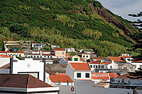 Europe, Azores, Faial, Down Town Horta, red roofs